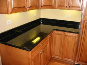 Pin By Stephanie Dillon On New House Black Granite Countertops Black Countertops Black Granite