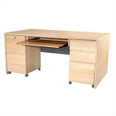Modular Real Oak Wood Veneer Panel Executive Desk Keyboard Kit By