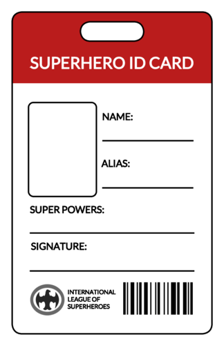 Superhero Identification Badges For Kids Onlinelabels Com Id Card Template Superhero Hero Crafts