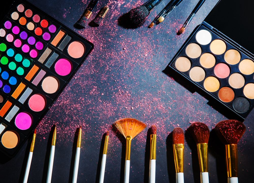 beauty makeup palette with makeup brush makeup background