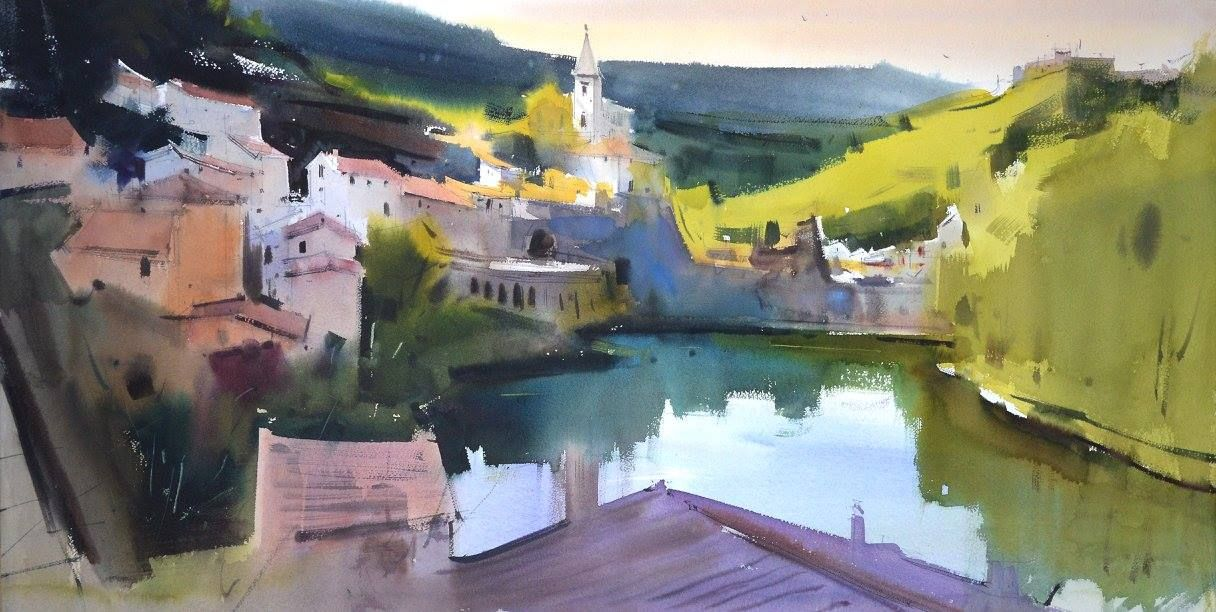 Eugen Chisnicean Artwork A French Village 100x50cm Watercolor