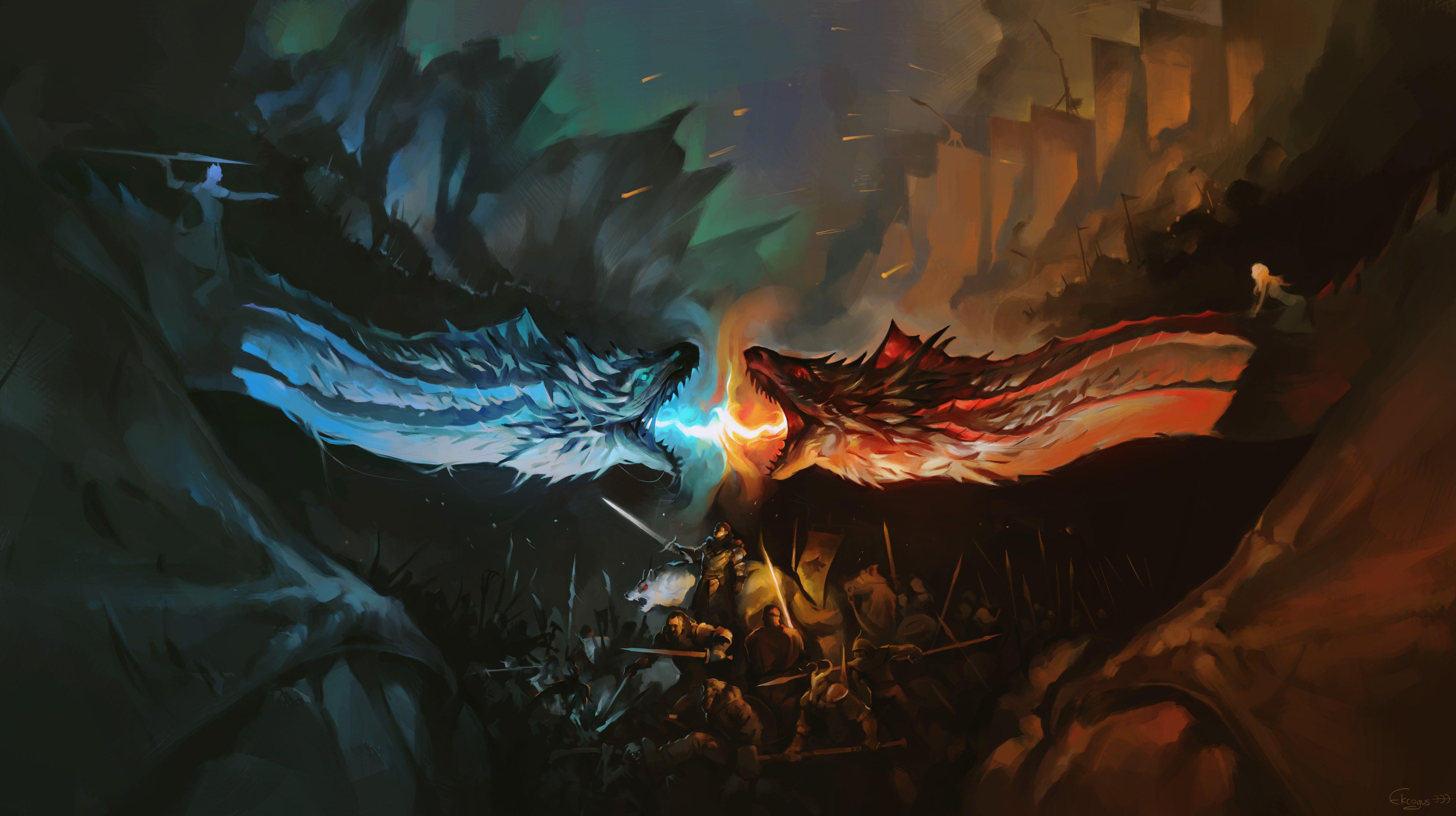 Game Of Thrones Season 7 Game Of Thrones Tv Shows Hd White Walkers 4k Dragon Artwork Artist Digital Art In 2020 Game Of Thrones Dragons Dragon Artwork Ice Dragon