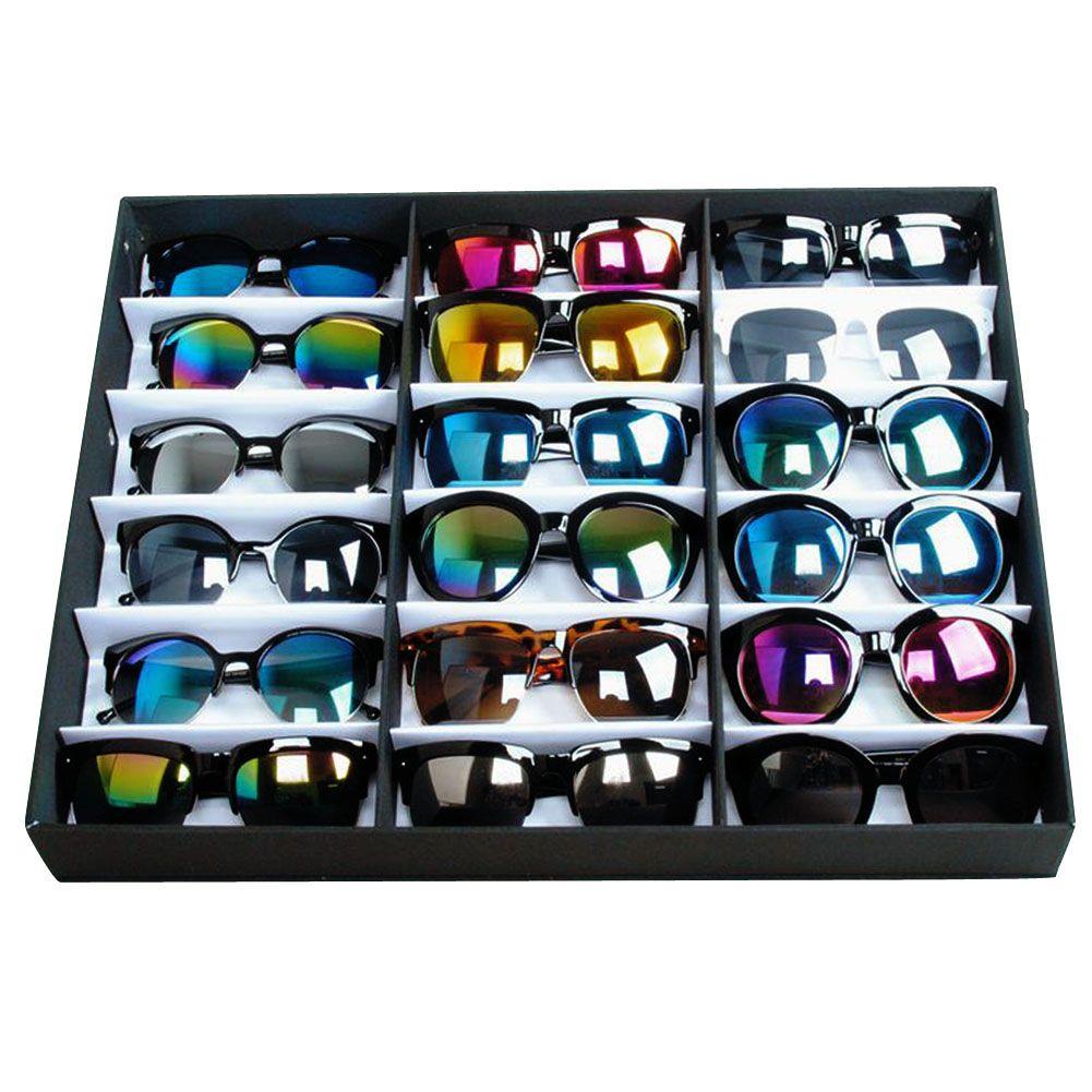 Sunglasses Organizer 18 Grid Watches Eyewear Holder Storage Box Container Case Men Women Jewellery Sunglasses Display Shop Display Stands Sunglasses Organizer