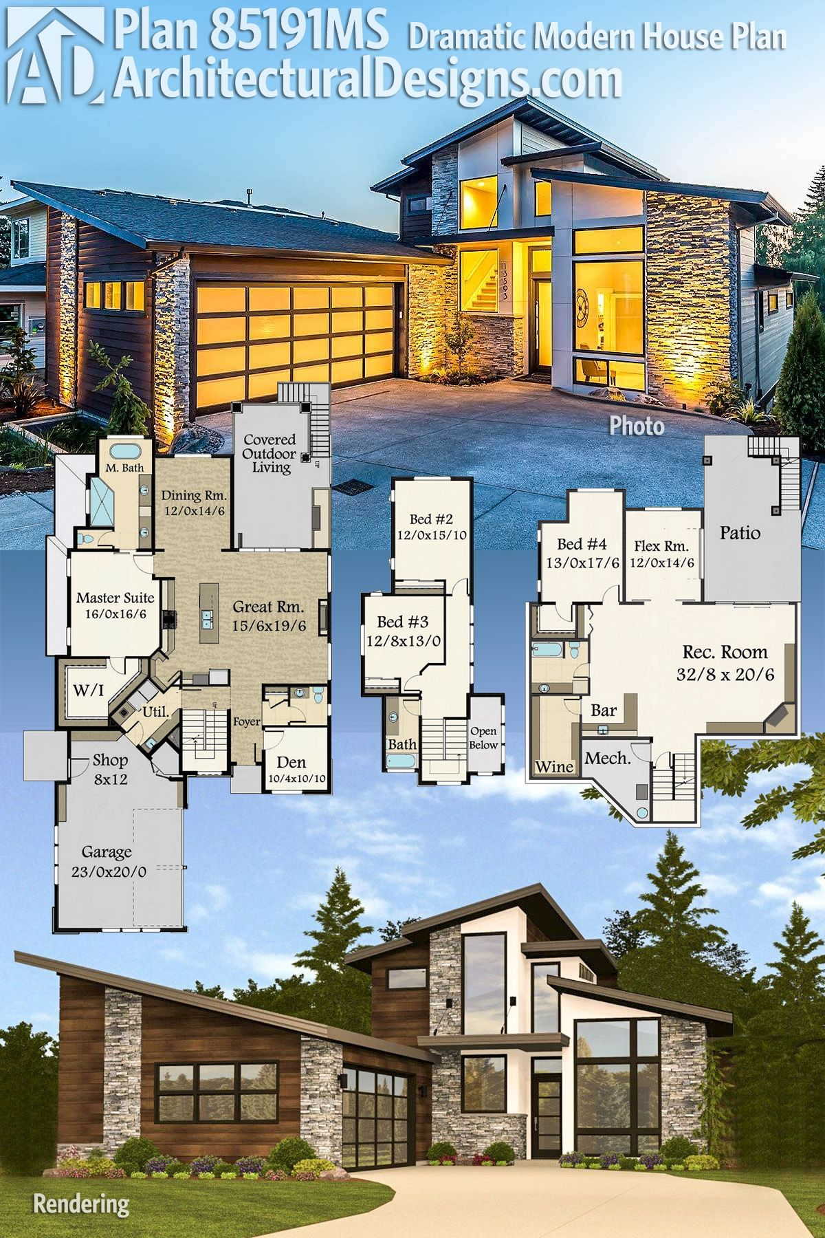 Architectural Designs Modern House Plan 85191MS gives