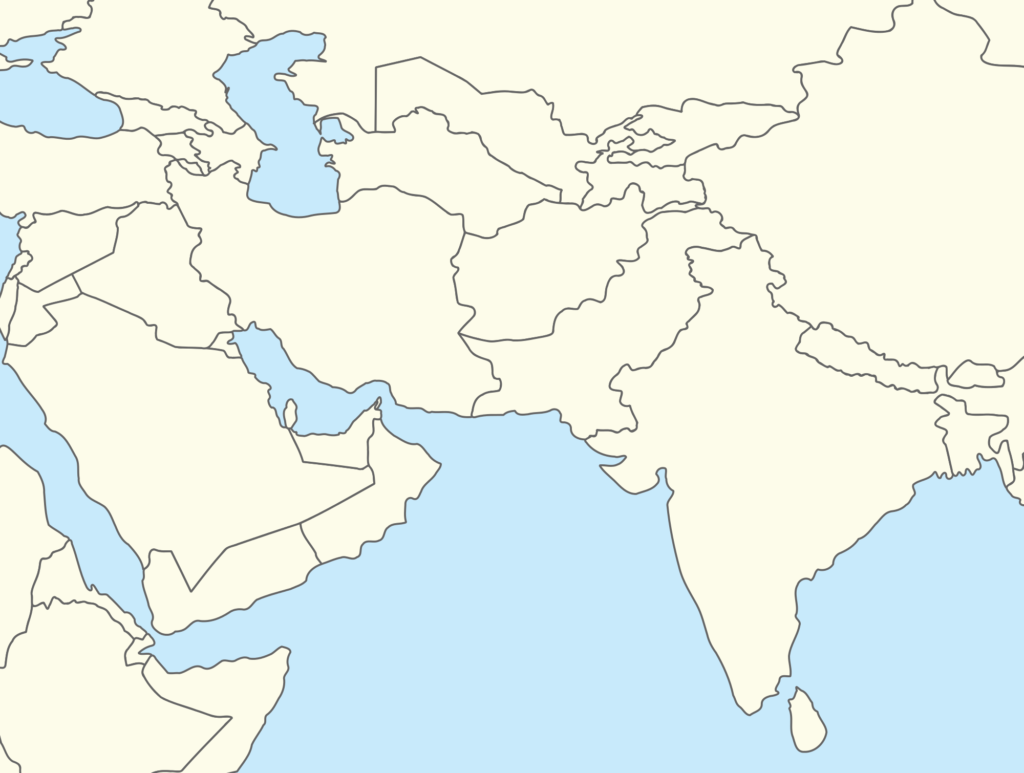 Blank South Asia Map Download Map Of Central And South Asia Major Tourist Attractions