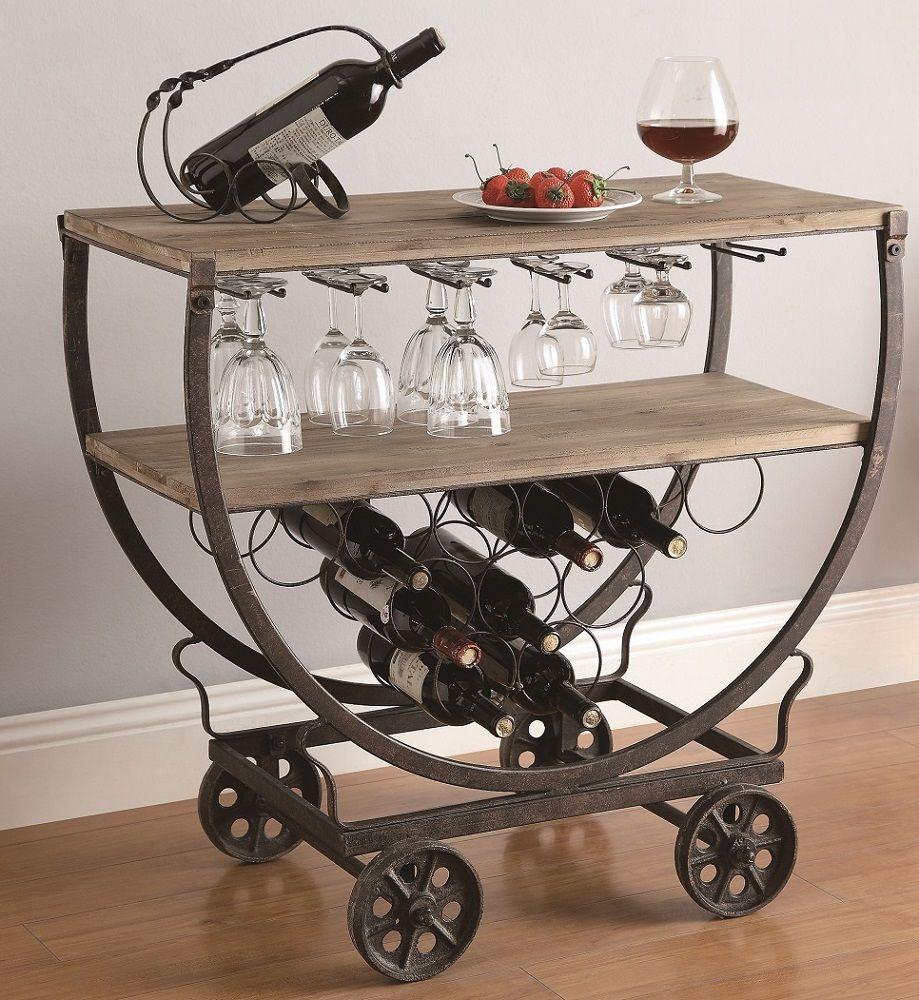 Industrial Wine Bar Cart Rolling Table Rustic Warehouse Wood U0026 Metal On  Wheels
