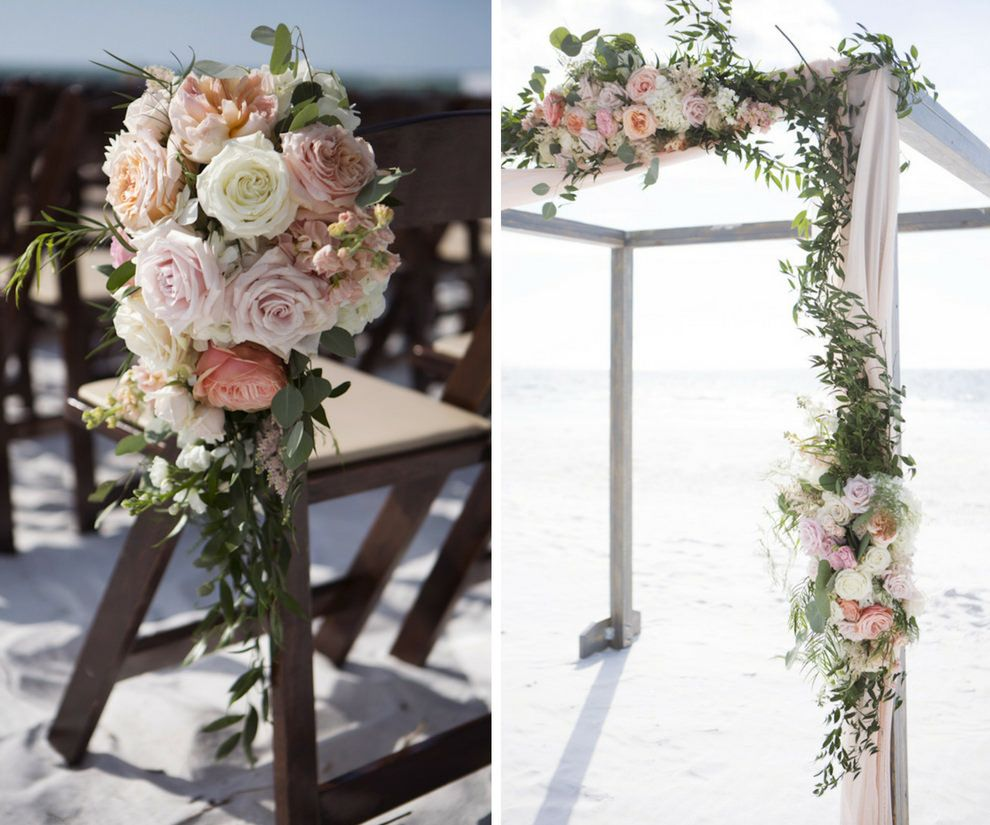Siesta Key Beach Wedding Ceremony: Romantic Rose Gold And Blush Pink Siesta Key Beach Wedding