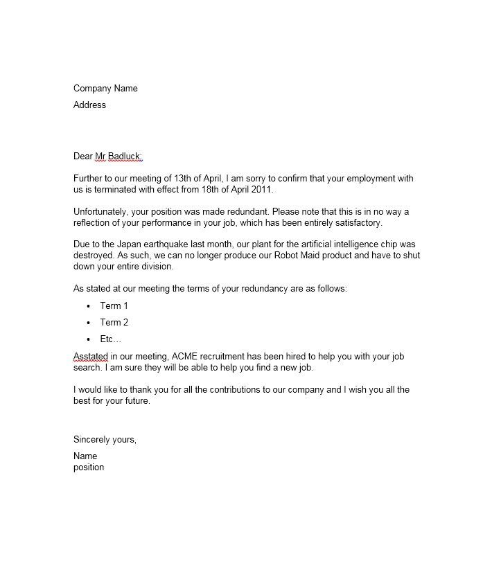 perfect termination letter samples lease employee contract - housekeeping cover letter