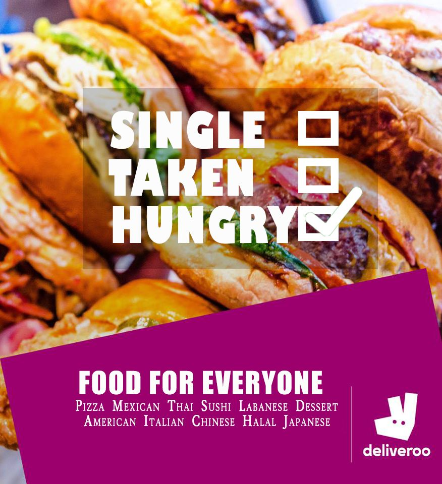 Deliveroo - A Perfect Place for all hungry people out there. Best place to order your favourite cuisine with yummilicious taste. What your Status:  Single Taken Hungry ✓  #Food #Coupons #Offers #HungerGames #Foodie #UAE