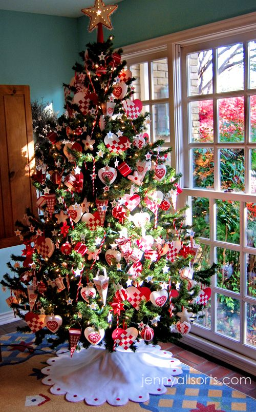 red and white tree CHRISTMAS TREES Pinterest Christmas tree