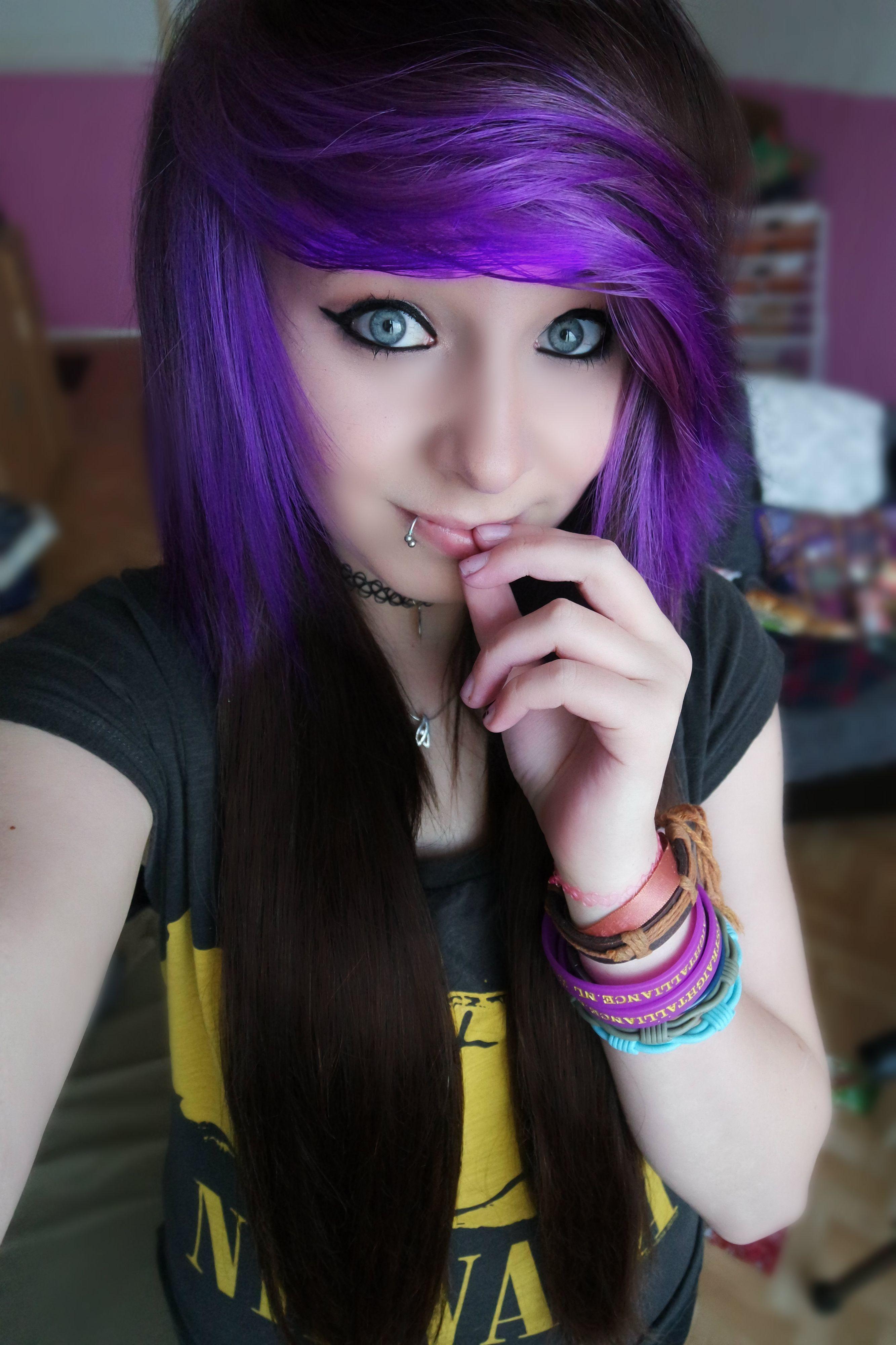 Purplehair scenehair brownhair alternative babes pinterest