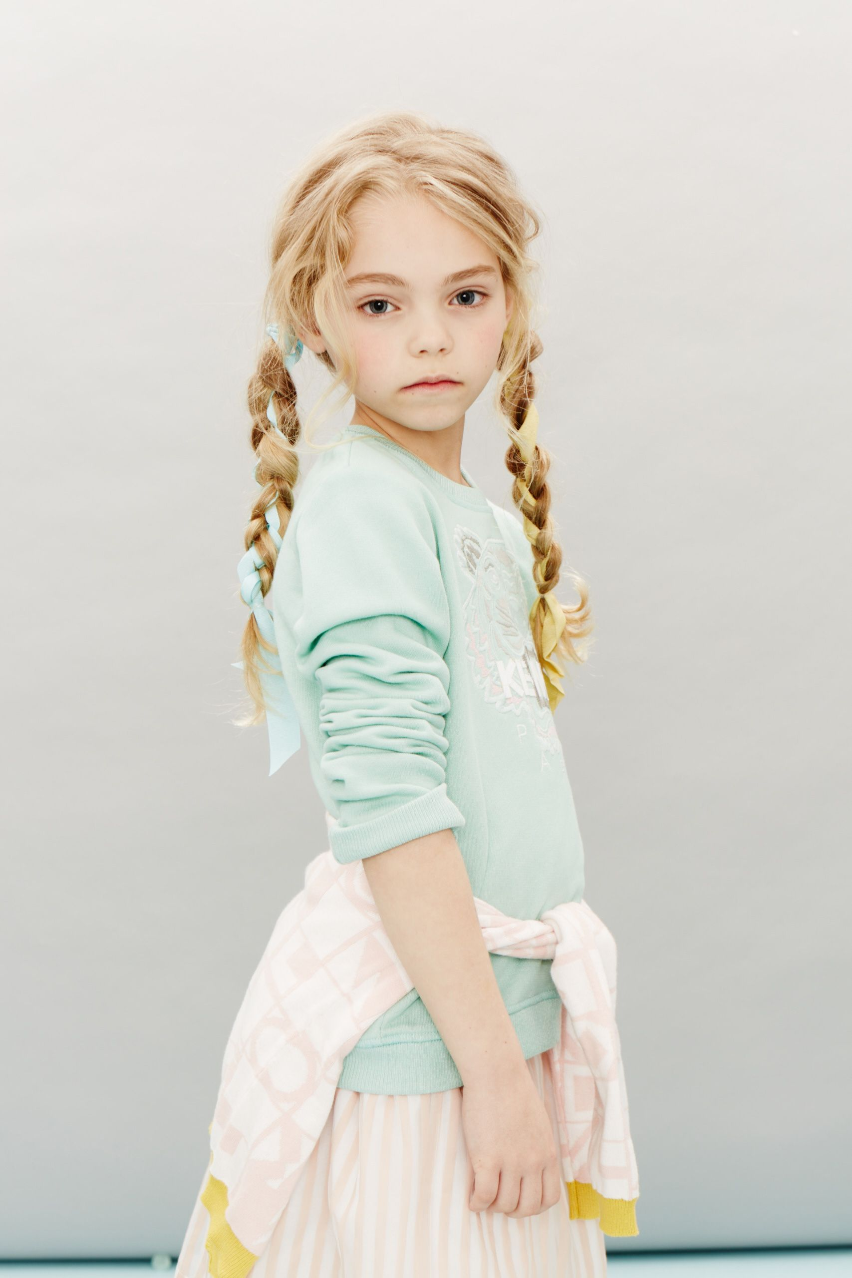 Why not rag tie your hair to match, pastels shades for the cardigan and sweatshirt by Kenzo and skirt by Hucklebones at Childrensalon spring 2016