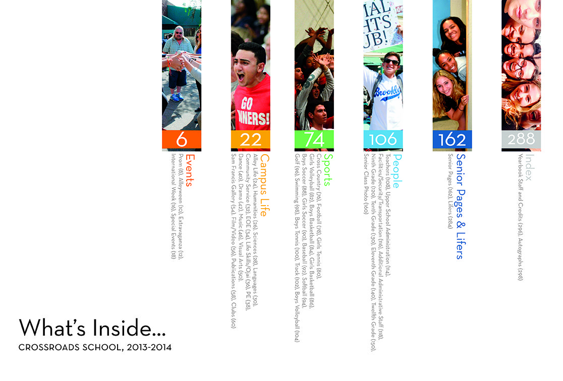 Crossroads school front endsheet table of contents spread