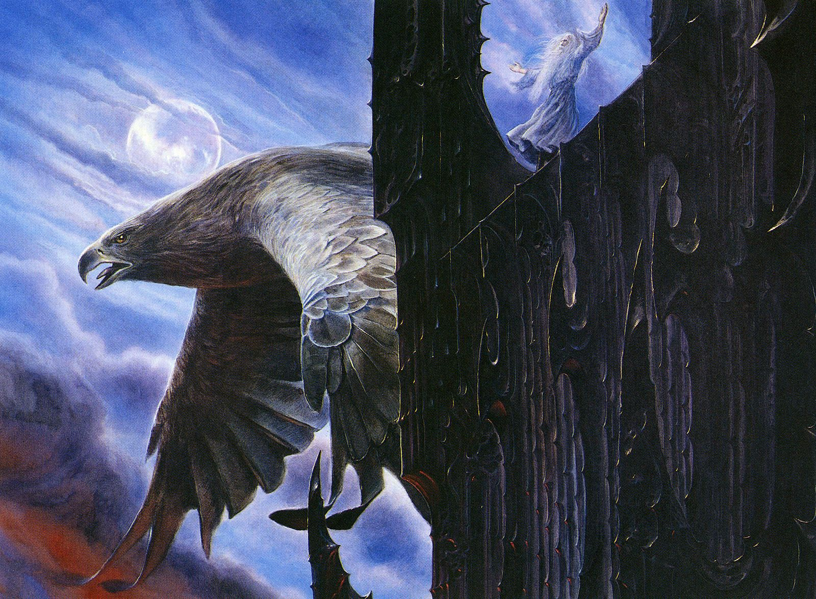 Escape from orthanc by john howe tolkien art middle
