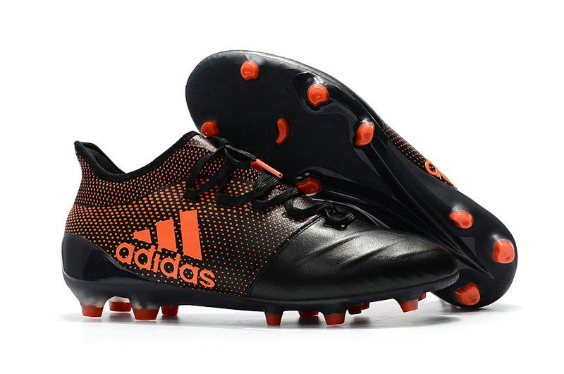 super popular a0caa 8f98e 2018 World Cup Men Adidas X 17 1 Leather FG Football Boots Core Black Solar  Red Solar Orange