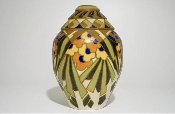 Charles Catteau Jules Chaput For Keramis Large Geometric Vase