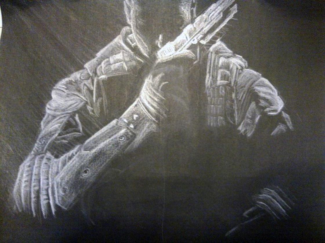 "Título: ""Call of Duty Black Ops II"" Autor: Cristofer Alan Angeles Soreano Técnica: Dibujo con lápiz blanco"