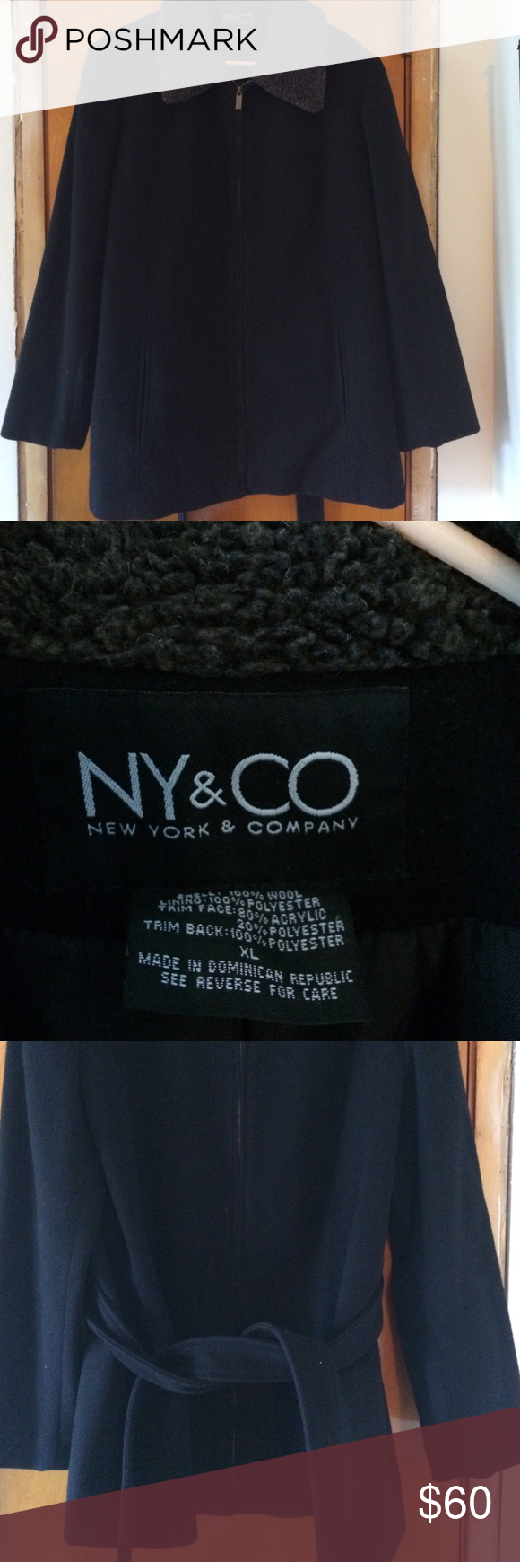 NY&C black dress winter jacket Black jacket with fleece collar and belt attached that you tie NY & Co Jackets & Coats