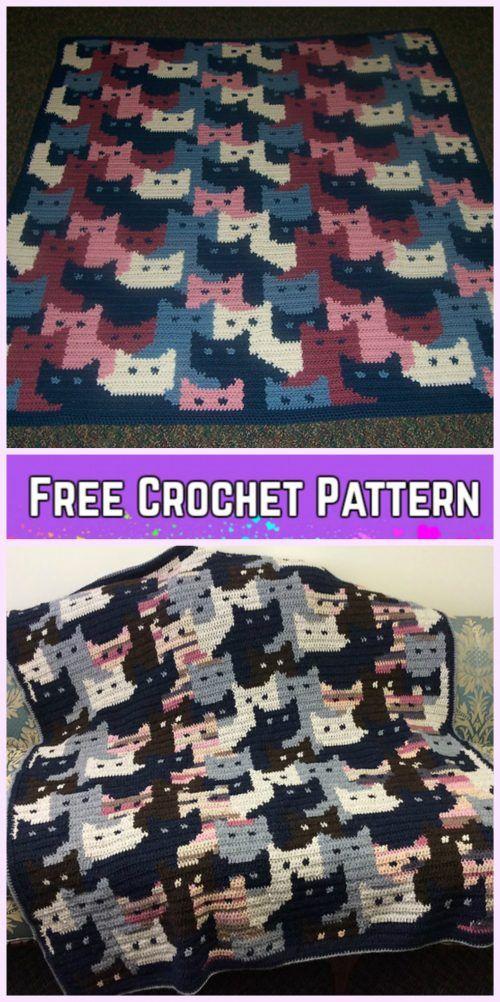 Crochet Cat Afghan Blanket Free Crochet Pattern | Cobija, Manta y ...