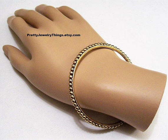 Metal Bead Edge Bracelet Bangle Gold Tone Vintage Black
