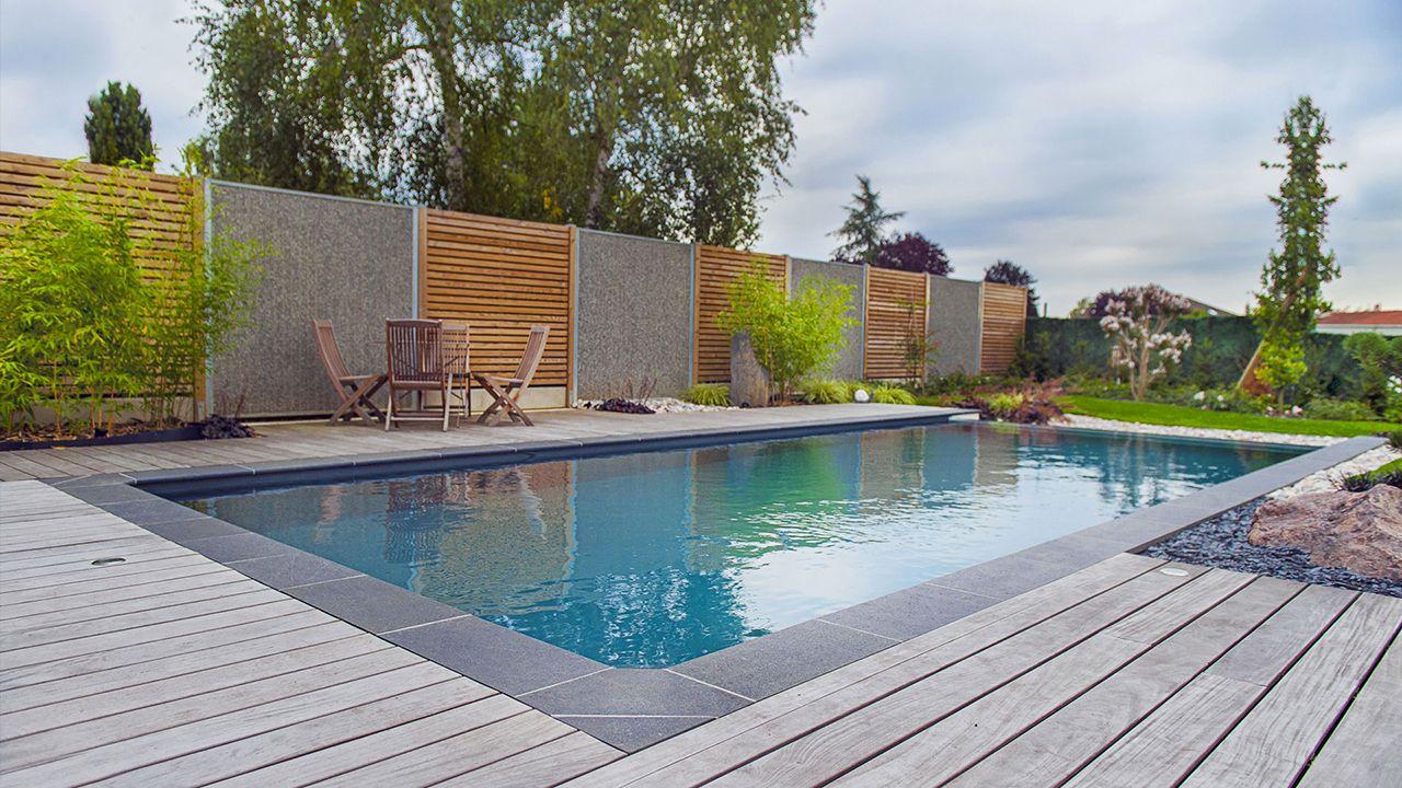 piscine 8 x 4 m revtement gris anthracite margelles en granit noir plage en ip