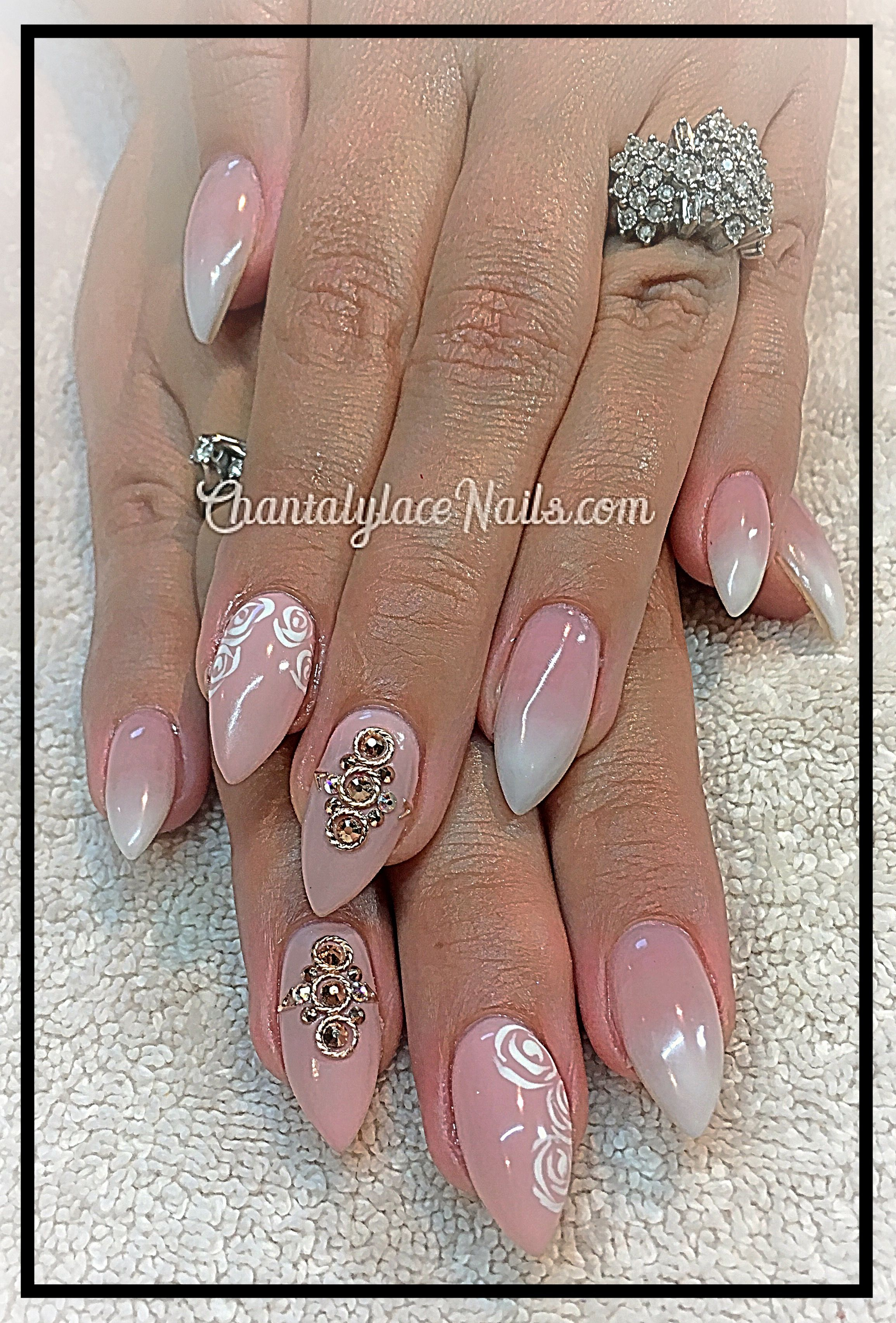 Faded French, rose gold studs, rose nail art | Nails by Chantalylace ...