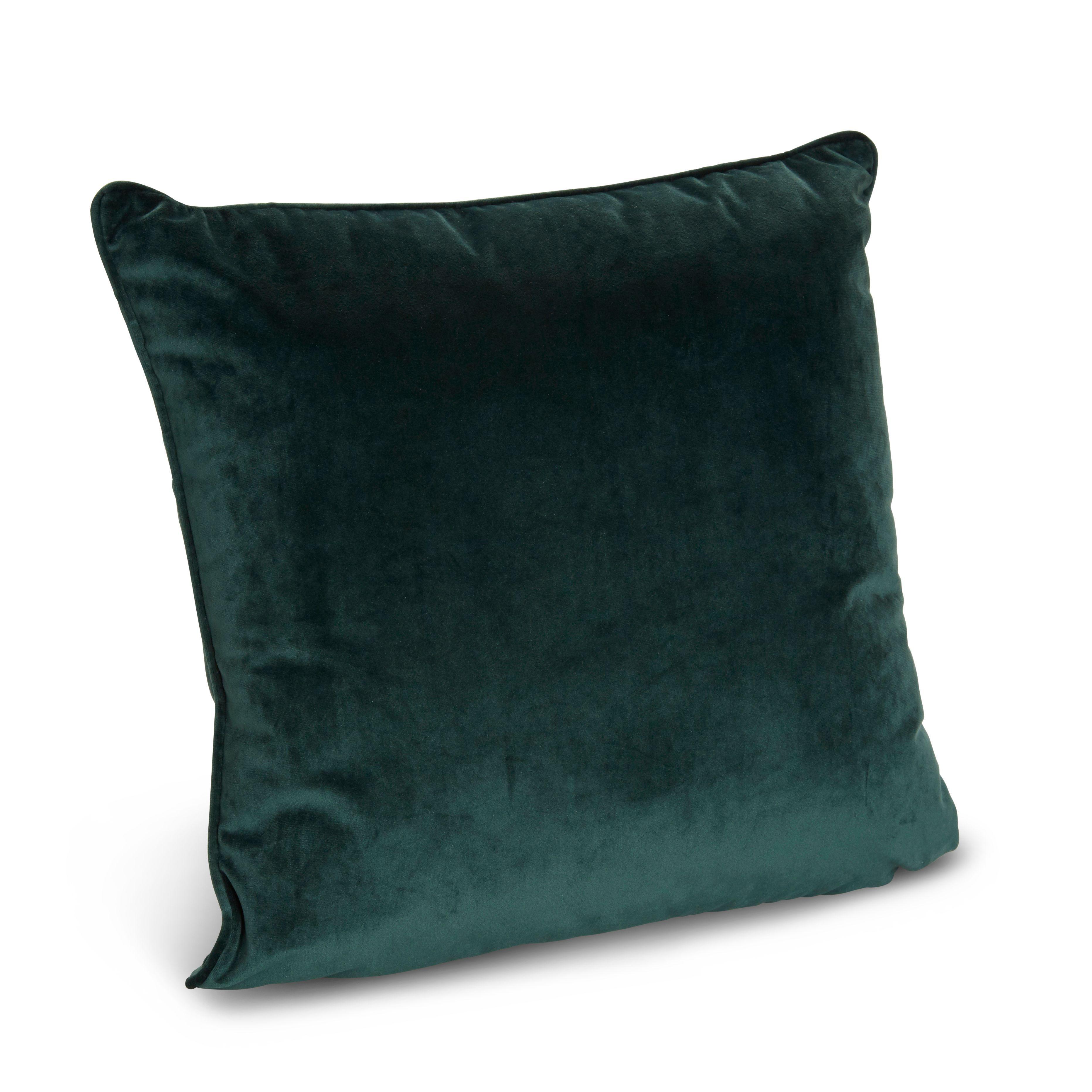 Teegan velvet green cushion departments diy at buq hunter