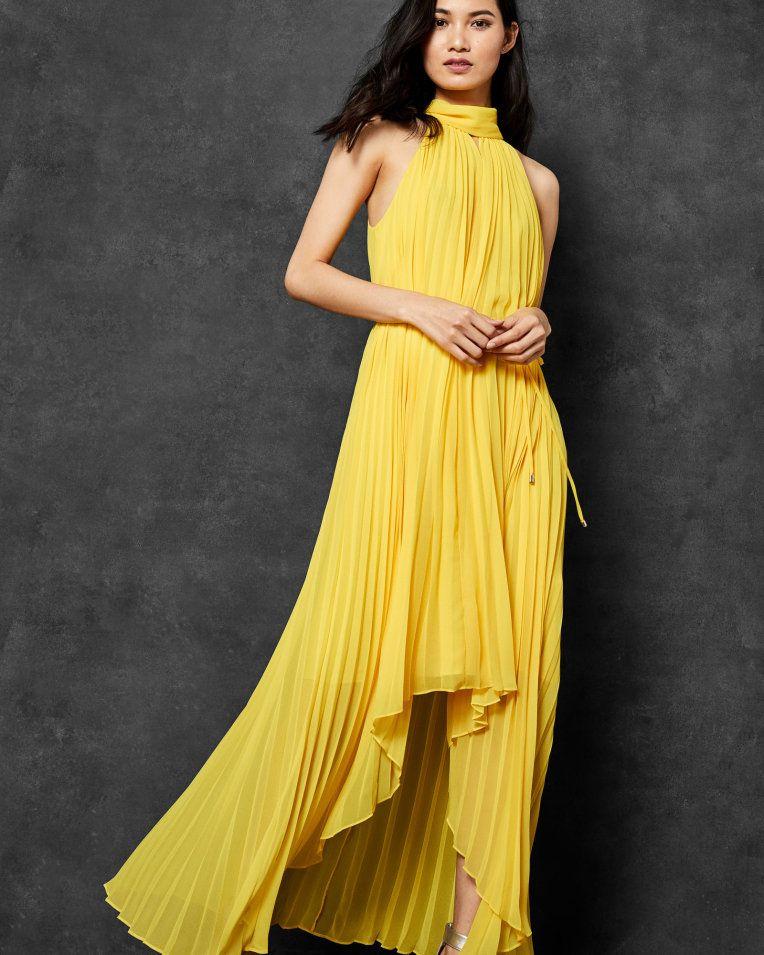 df1c99f376cde0 Pleated collar maxi dress - Yellow