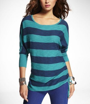 Just bought this! STRIPED SIDE RUCHED SLUB KNIT TUNIC at Express