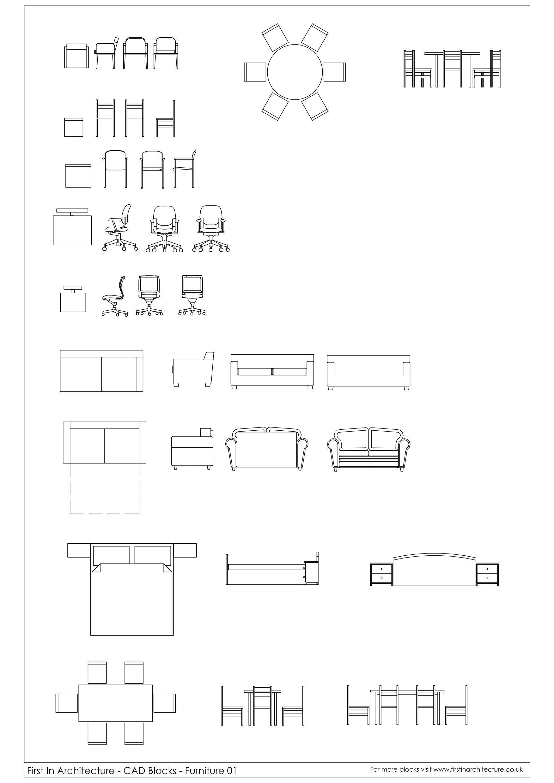 Fia Furniture Cad Blocks 01 Jpg 1 753 2 480 Pixels Manjiri  # Muebles Gimnasio Dwg