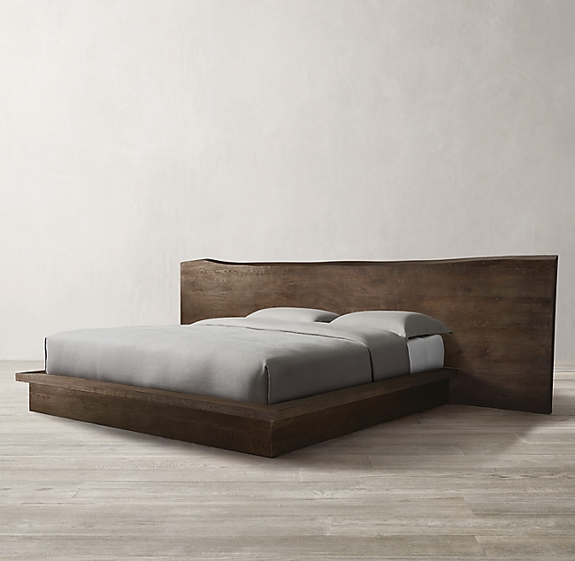 Reclaimed Russian Oak Live Edge Platform Bed Platform Bed