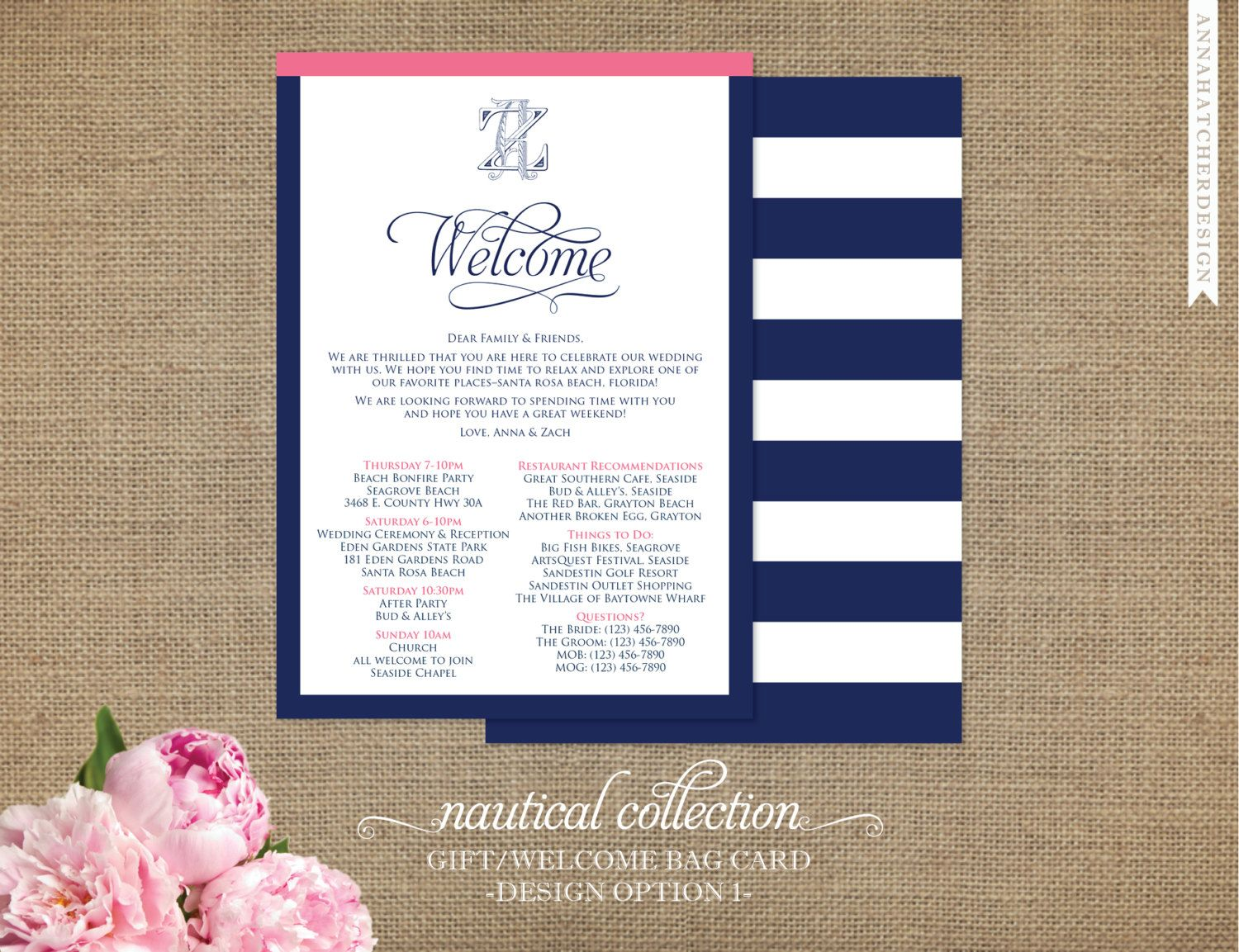 Nautical Wedding Welcome Note Card Wedding Itinerary Things To Do