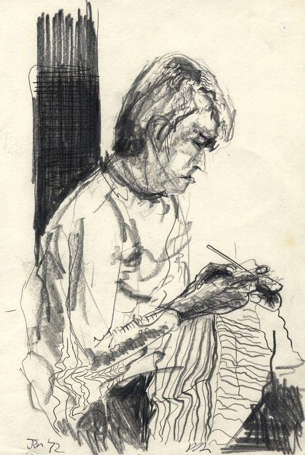 Julian Dyson - 1972 Graphite Drawing, Woman Knitting