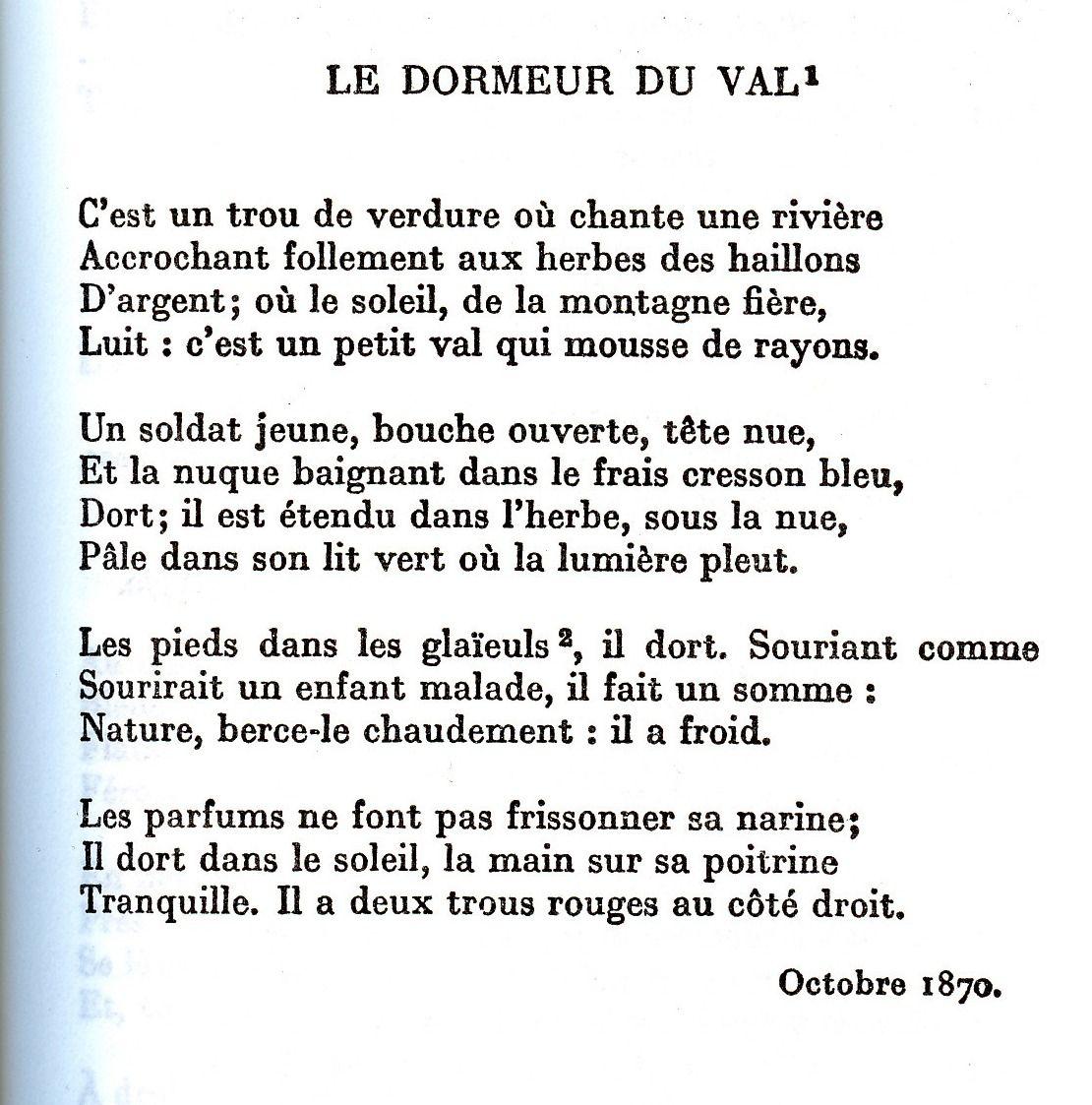 Le Dormeur Du Val Arthur Rimbaud Quelques Mots Convictions