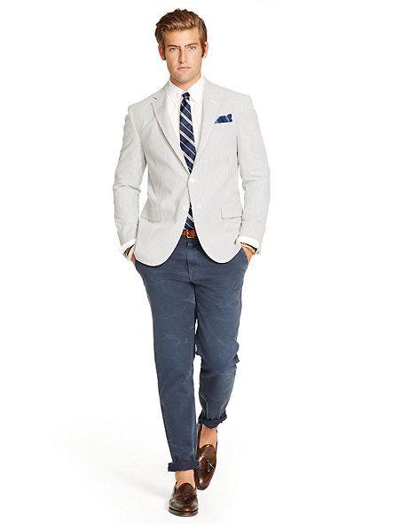 Polo Seersucker Sport Coat Womens Suits Business Shopping Outfit Light Blazer