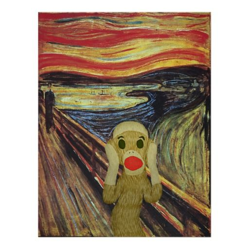 Sock Monkey Scream poster | Zazzle.com #sockmoneky