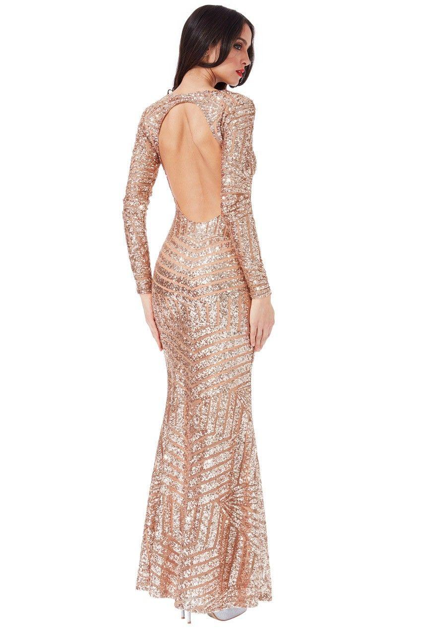 Long Sleeved Open Back Sequin Maxi Dress Champagne Dresses Maxi Dress With Sleeves Backless Dress Formal [ 1268 x 849 Pixel ]