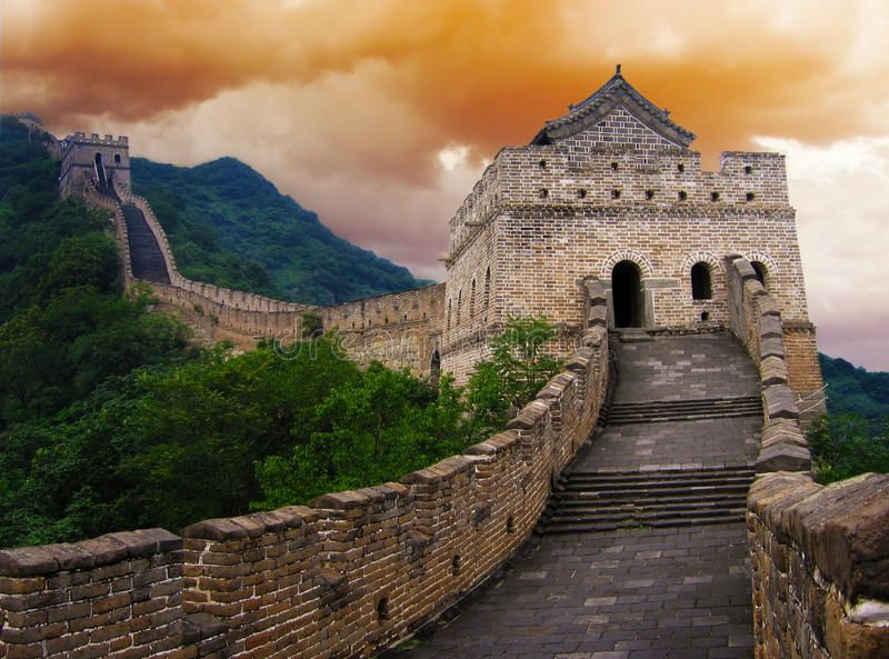 the great wall of china outside beijing at sunset on the great wall of china id=38823