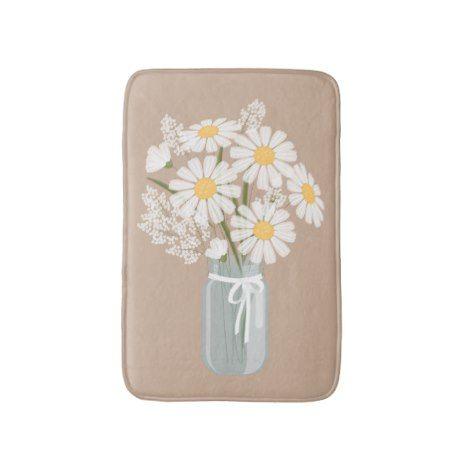 White Daisies Mason Jar on Beige Bathroom Mat