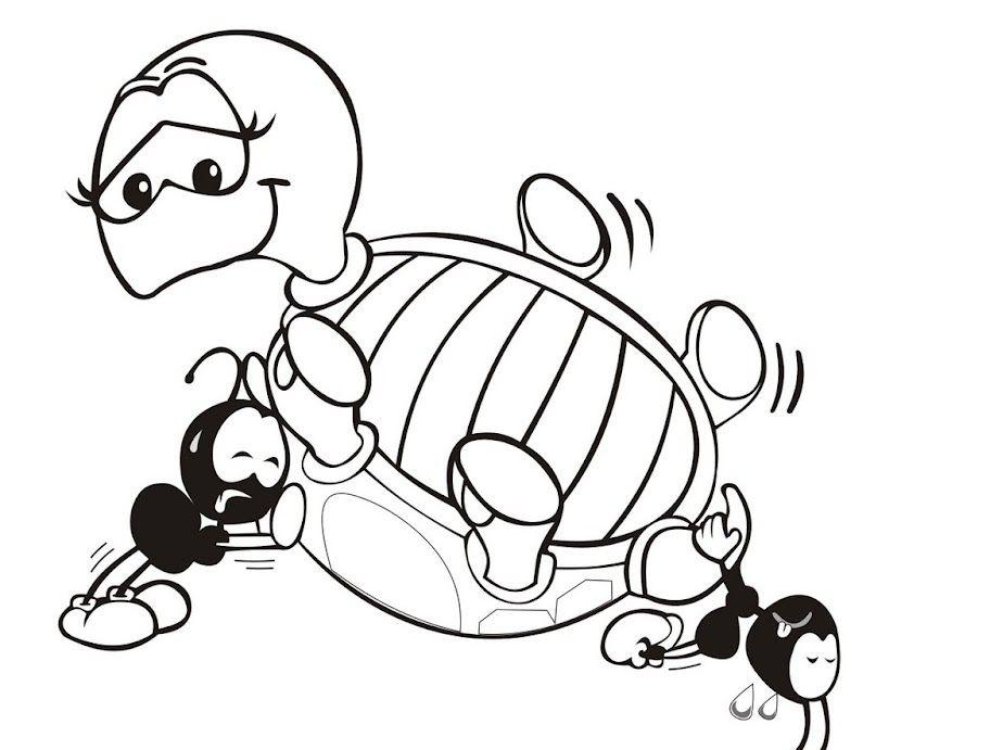 Desenho Da Tartaruga E As Formigas Para Colorir