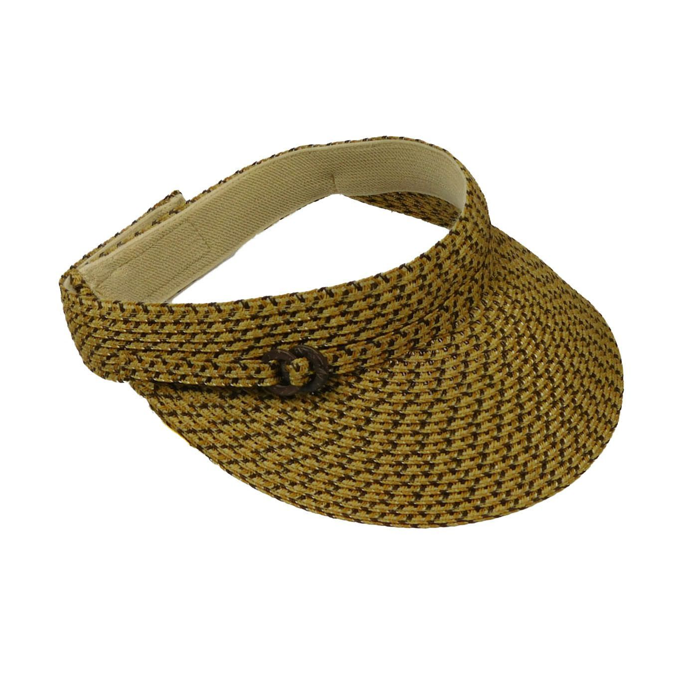 Straw Visor with Belt Buckle Accent