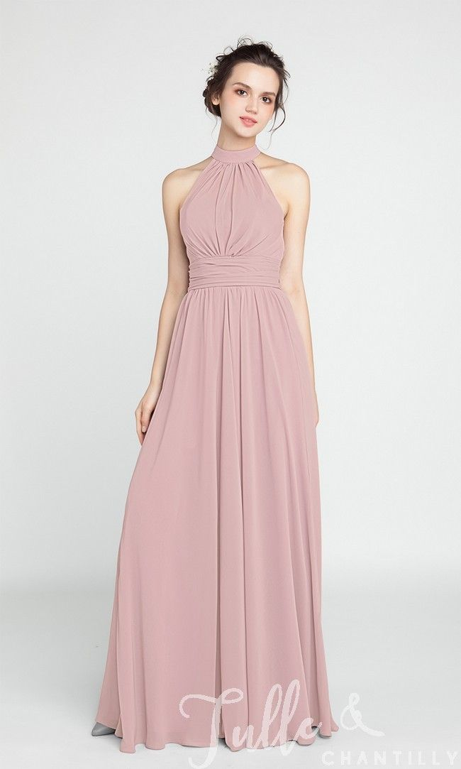 Long Chiffon Bridesmaid Dress with Halter Neckline TBQP384 | Pinterest
