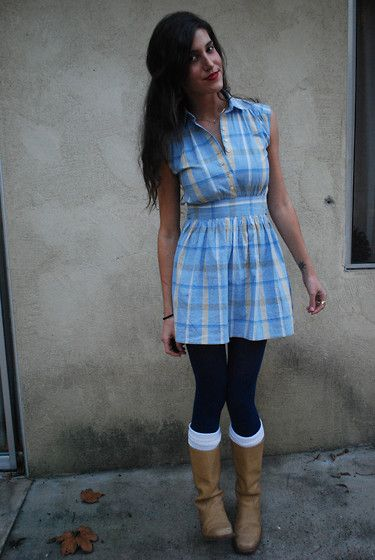 Blue tights and socks