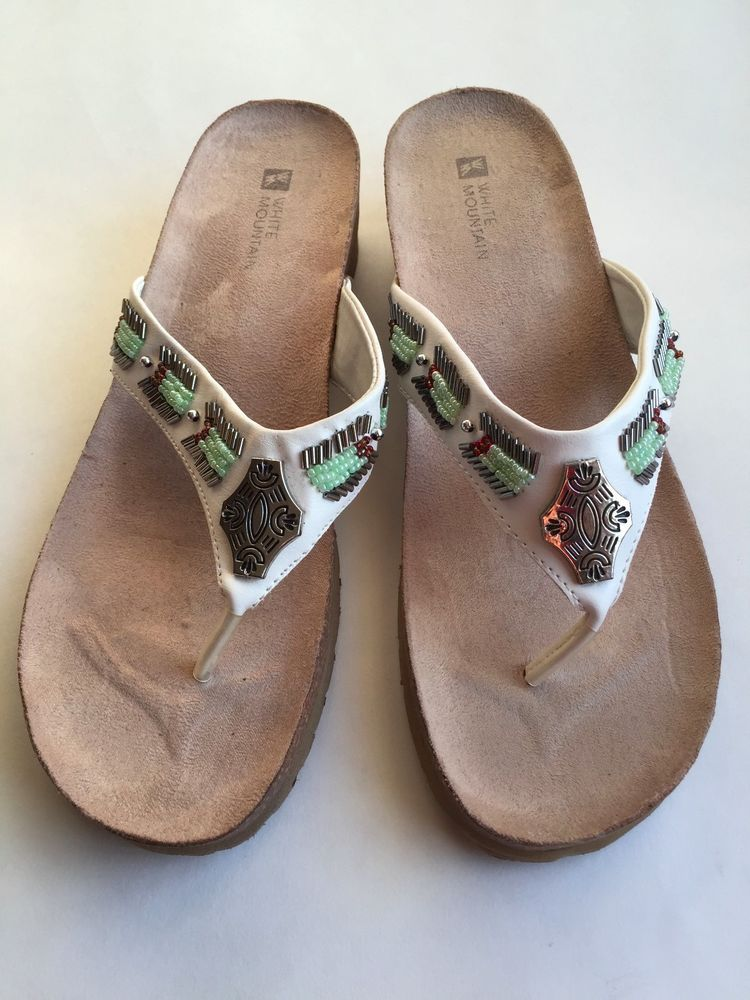 White Mountain Vegan Shoes Beaded Jeweled Wedge Thong Sandals Size 9M #WhiteMountain #TStrap