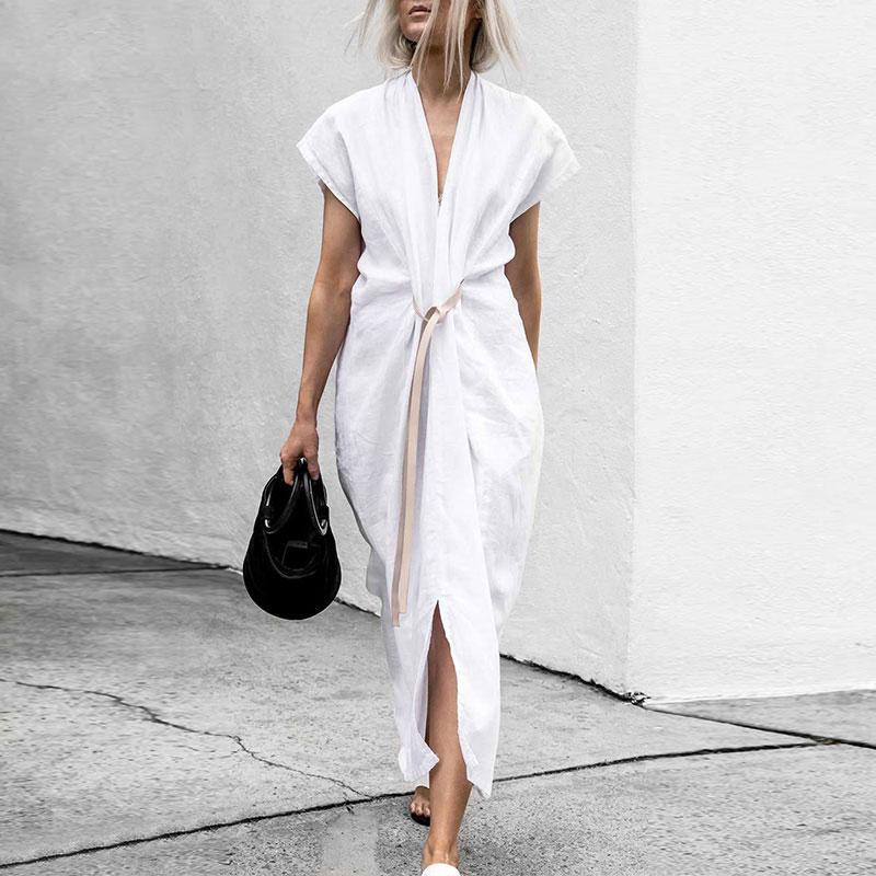 Chic V Collar Plain Belted Slit Maxi Dresses