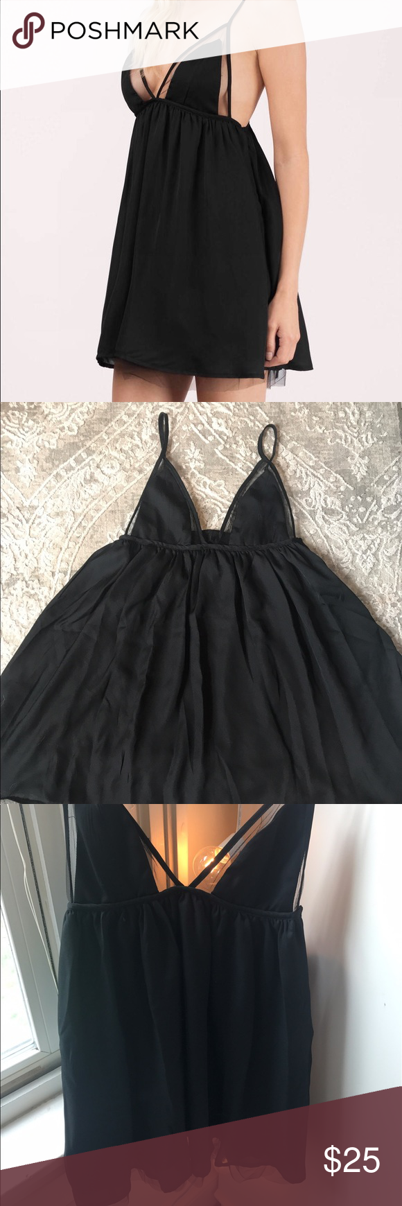 Mesh Babydoll Dress Black babydoll dress with sheer lining. Originally from Tobi, never worn + tags still attached. Size S Tobi Dresses Mini