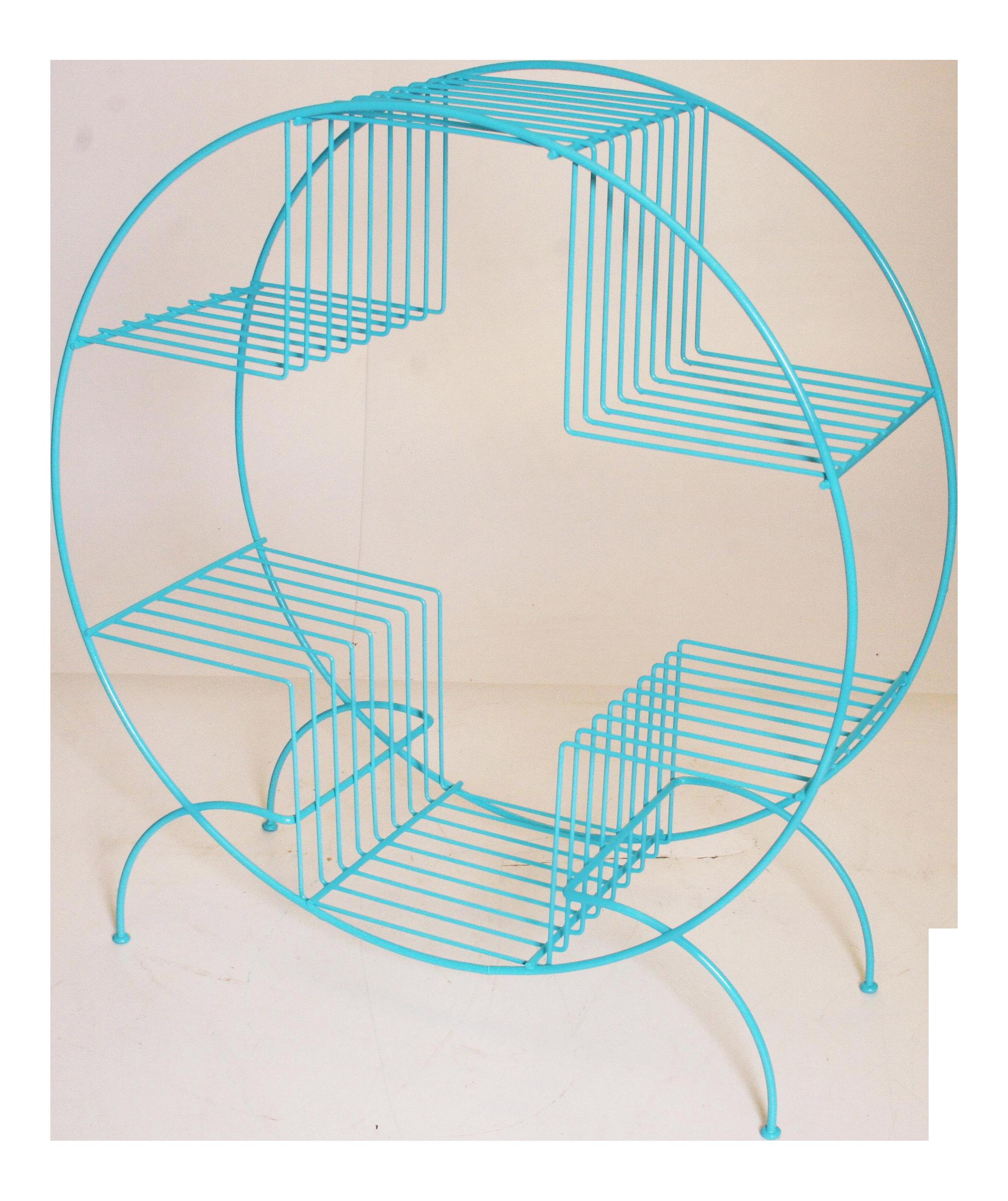 Mid Century Modern Teal Round Wire Plant Stand | Pinterest | Mid ...