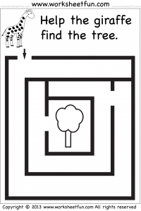 Beginner Mazes – Preschool and Kindergarten – 12 Worksheets ...