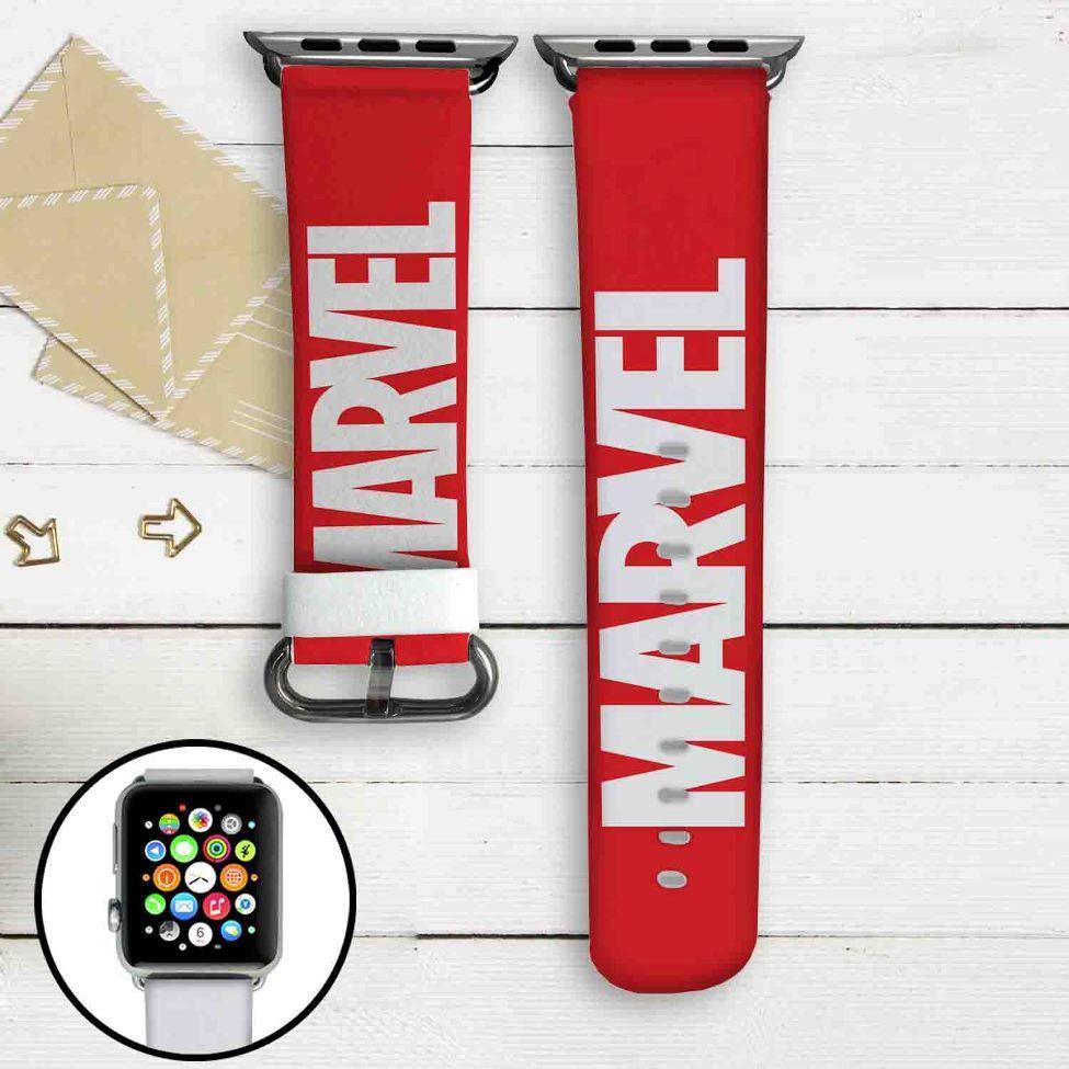 Marvel Logo Custom Apple Watch Band Leather Strap Wrist