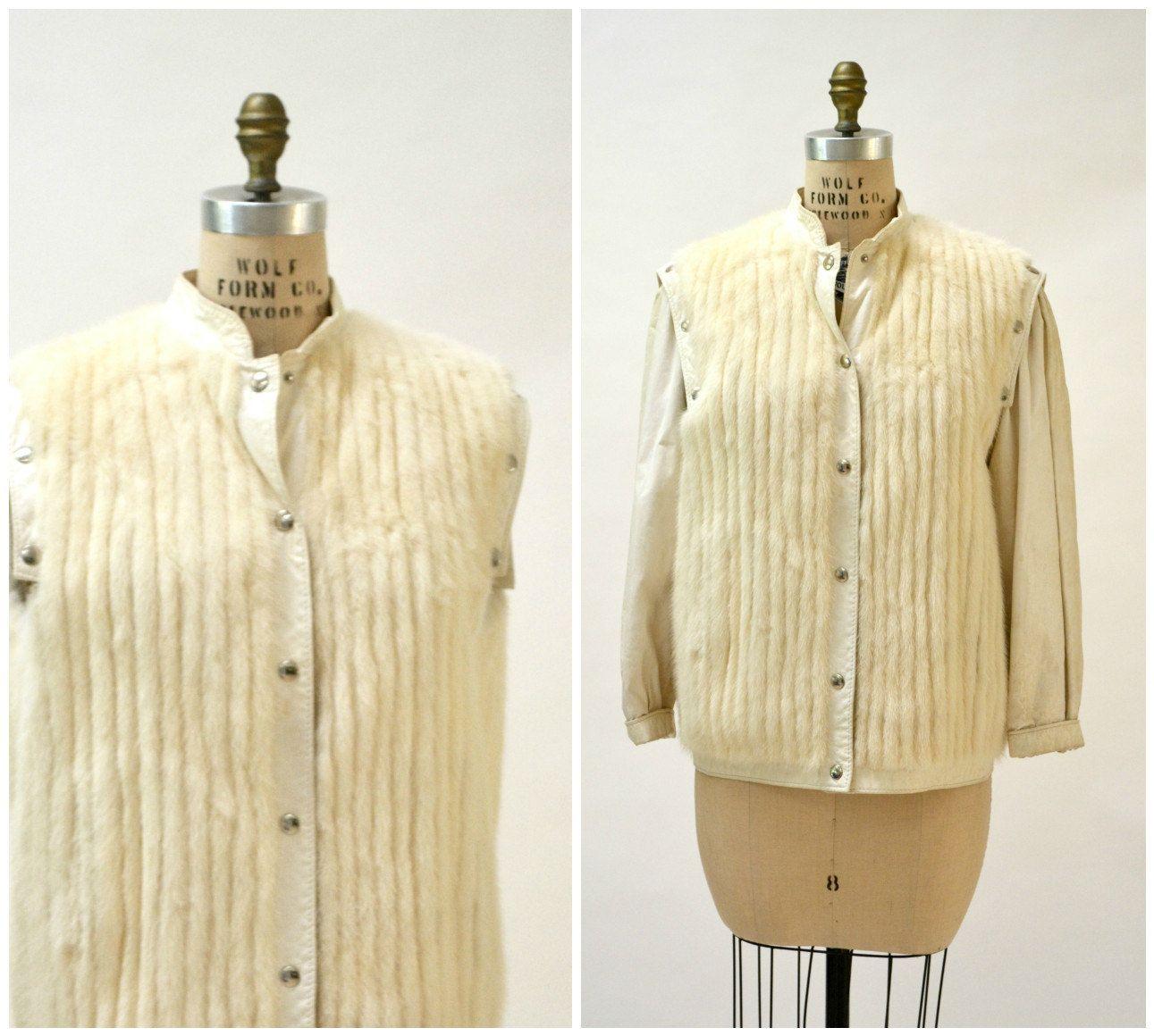 Vintage Fur Vest Jacket Mink Size Medium Cream White